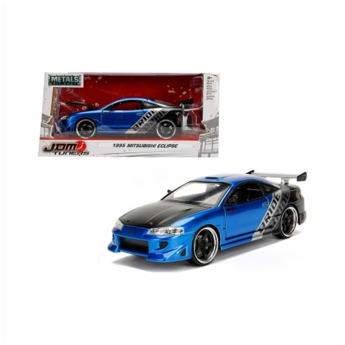 Jada Toys 99103 1 isto 24 1995 Mitsubishi Eclipse Bride JDM Tuners Diecast Model Car, Blue Perspective: front