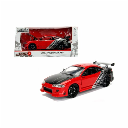 Jada Toys 99105 1 isto 24 1995 Mitsubishi Eclipse Bride JDM Tuners Diecast Model Car, Red Perspective: front