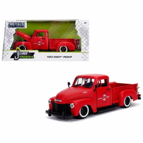 Jada 99178 1953 Chevrolet 3100 Pickup Truck Matt Red Custom Shop Classic Truck 1-24 Diecast M Perspective: front