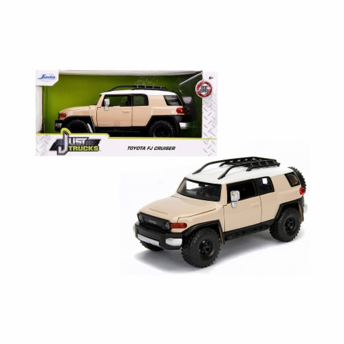 Jada 99319 Toyota FJ Cruiser with Roof Rack Beige with White Top Just Trucks 1 by 24 Diecast Perspective: front