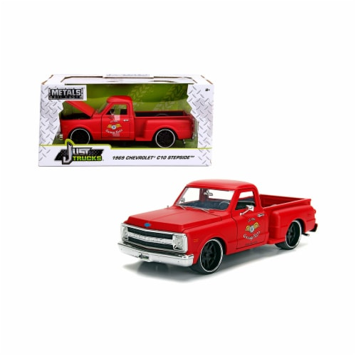 Jada 99322 1969 Chevrolet C10 Stepside Pickup Truck Matt Red Garage Nuts Just Trucks Series 1 Perspective: front