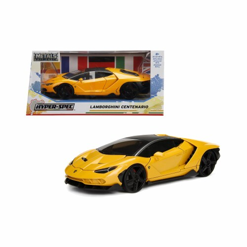Jada 99362 Lamborghini Centenario Metallic Yellow Hyper-Spec 1 by 24 Diecast Model Car Perspective: front