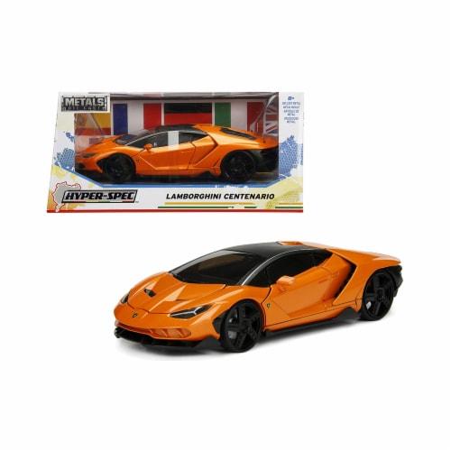 Jada 99363 Lamborghini Centenario Metallic Orange Hyper-Spec 1 by 24 Diecast Model Car Perspective: front