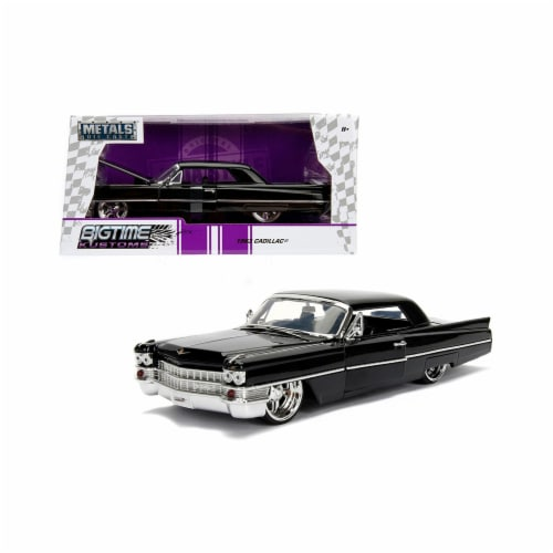 Jada Toys 99550 1 isto 24 1963 Cadillac Diecast Model Car, Black Perspective: front