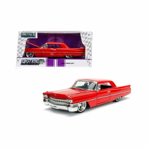 Jada Toys 99551 1 isto 24 1963 Cadillac Diecast Model Car, Red Perspective: front
