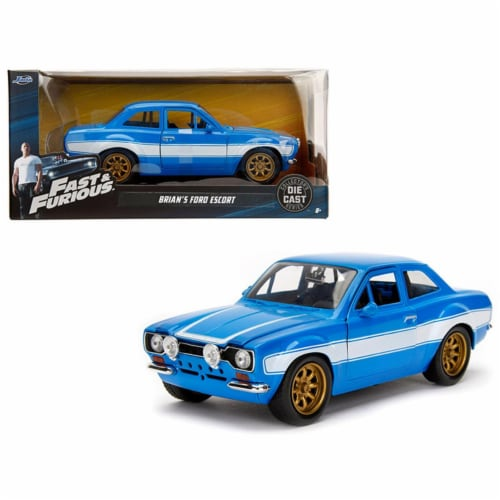 Jada Toys 99572 1-24 1970 Brians Ford Escort Fast & Furious Movie Diecast Model Car - Blue wi Perspective: front