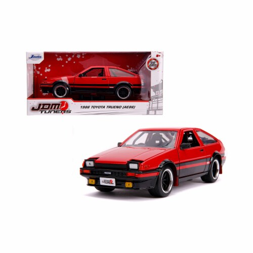 Jada 99577 1986 Toyota Trueno AE86 RHD Right Hand Drive Glossy Red & Black JDM Tuners 1 by 24 Perspective: front
