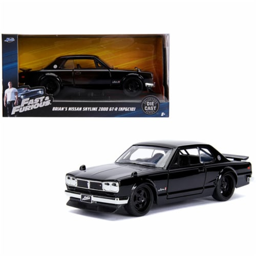Jada 99602 Brians Nissan Skyline 2000 GT-R KPGC10 Black Fast & Furious Movie 1-32 Diecast Mod Perspective: front