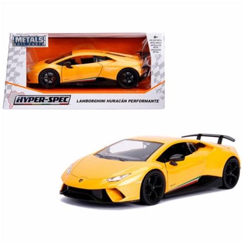 Jada Toys 99707 1 isto 24 Lamborghini Huracan Perfomante Diecast Model Car, Metallic Yellow Perspective: front