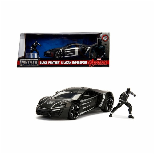Jada Toys 99723 1-24 Lykan Hypersport with Black Panther Diecast Figure Marvel Series Model C Perspective: front