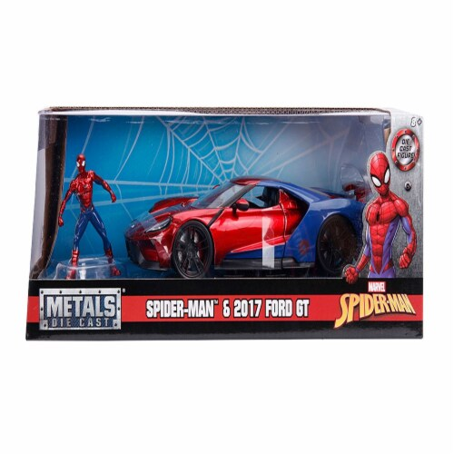 Jada Toys 99725 1-24 2017 Ford GT with Spider Man Diecast Figure Marvel Series Model Car Perspective: front