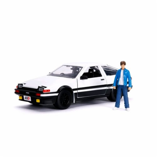 Jada 99733 Toyota Trueno AE86 with Takumi Diecast Figure Initial D First Stage 1998 TV Series Perspective: front