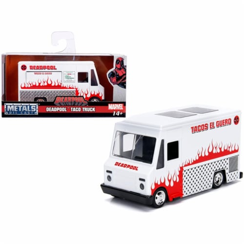 Jada 99800 Deadpool Taco Truck Marvel Series 1 by 32 Diecast Model, White Perspective: front