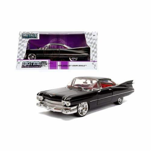 Jada Toys 99989 1 isto 24 1959 Cadillac Coupe DeVille Diecast Model Car, Black Perspective: front