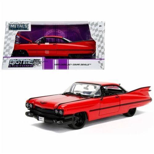 Jada Toys 99990 1 isto 24 1959 Cadillac Coupe DeVille Diecast Model Car, Red Perspective: front
