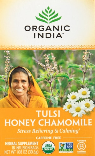Organic India Tulsi Tea Honey Chamomile Perspective: front