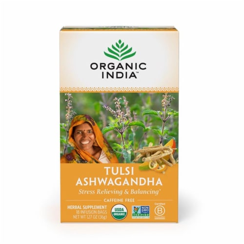 Organic India - Tulsi Ashwagandha - Case of 6 - 18 CT Perspective: front