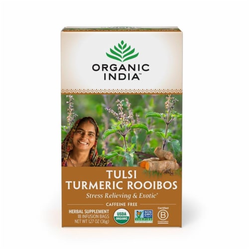 Organic India - Tulsi Turmeric Rooibos - Case of 6 - 18 CT Perspective: front