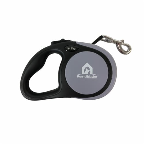 Small 16 ft. Gray Retractable Dog Leash Perspective: front