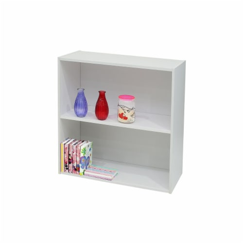 KB BK1560 24 x 24 x 11 in. Wood 2 Tier Bookcase - White Perspective: front
