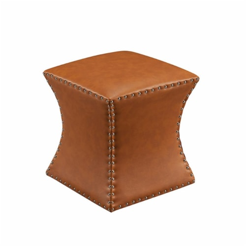 KB 3216-BR 17 x 15 x 15 in. Faux Leather Square Ottoman - Brown Perspective: front