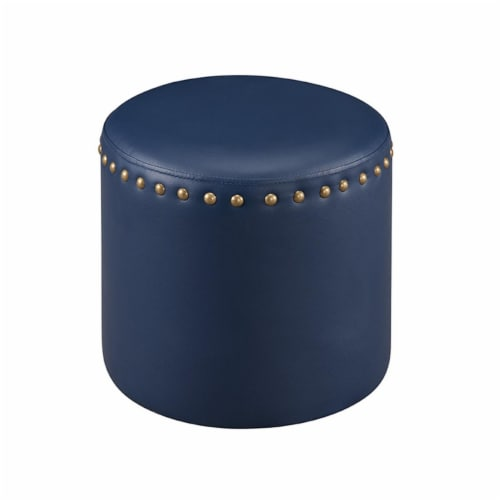 KB 3217-BU Blue Faux Leather Ottoman - Round Perspective: front