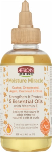 African Pride Moisture Miracle 5 Essential Oils Hair Oil Perspective: front