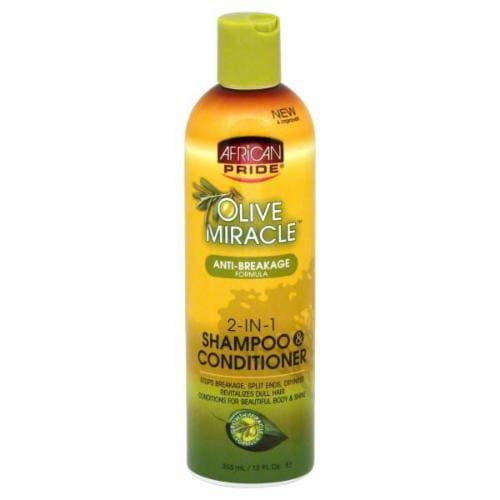African Pride Olive Miracle 2-in-1 Shampoo & Conditioner Perspective: front