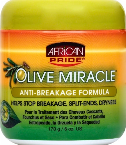 African Pride Olive Miracle Anti-Breakage Formula Hair Treatment Perspective: front