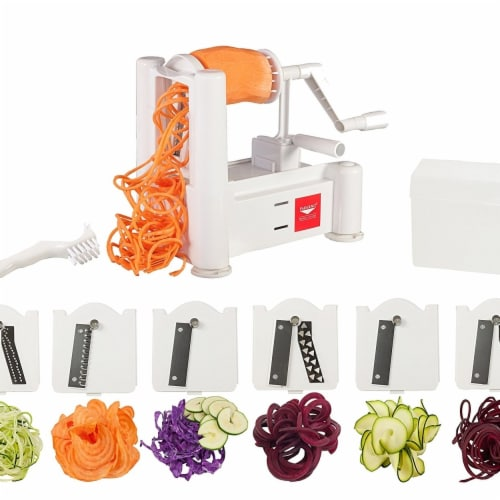 Paderno World Cuisine 6-Blade Spiralizer with Brush Perspective: front