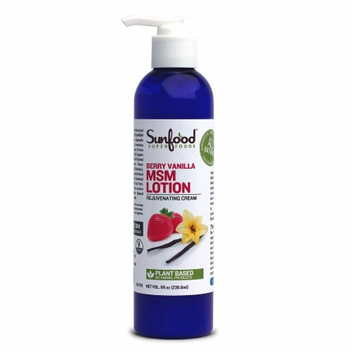 Sunfood Organic Berry Vanilla MSM Lotion Perspective: front