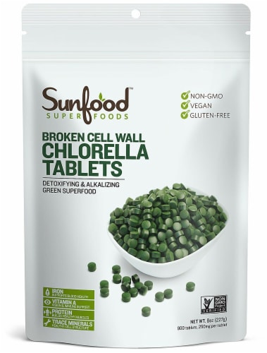 Sunfood Chlorella 250 mg Tablets Perspective: front
