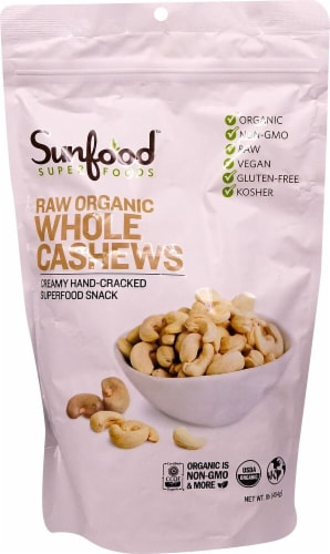 Sunfood Raw Organic Whole Cashews Perspective: front