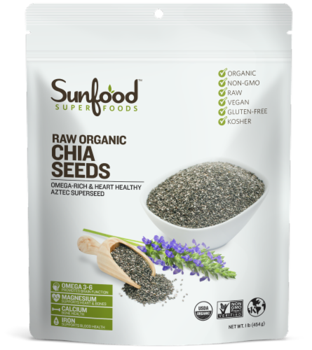 Sunfood Raw Organic Chia Seeds Perspective: front