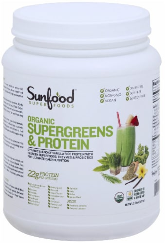 Sunfood Supergreens & Protein Perspective: front