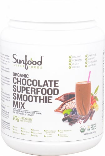 Sunfood Organic Gluten Free Chocolate Superfood Smoothie Mix Perspective: front