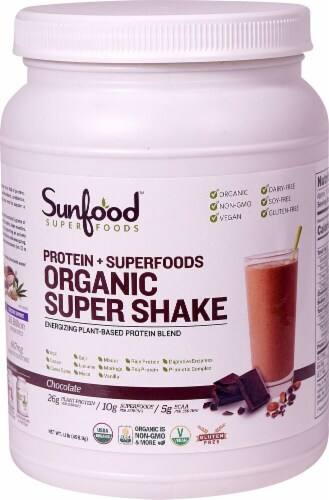 Sunfood Protein + Superfoods Organic Chocolate Super Shake Energizing Protein Blend Perspective: front
