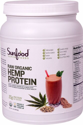 Sunfood Raw Organic Hemp Protein Perspective: front