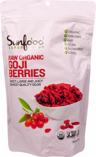 Sunfood Raw Organic Goji Berries Perspective: front