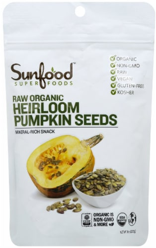 Sunfood Organic Raw Heirloom Pumpkin Seeds Perspective: front