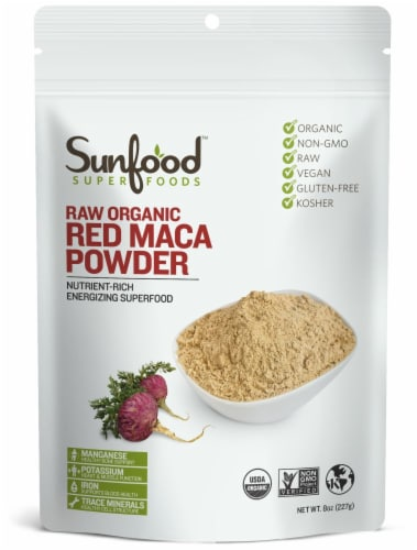 Sunfood Raw Organic Red Maca Powder Perspective: front