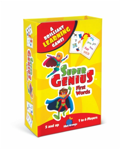 Blue Orange Super Genius First Words Card Game Perspective: front