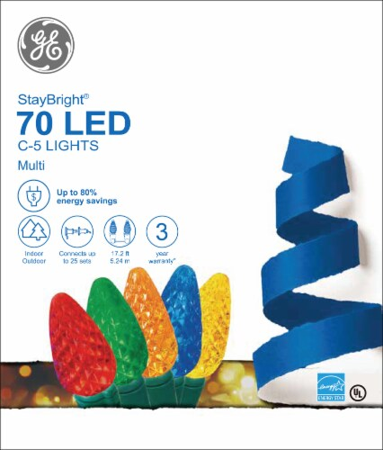 GE StayBright 70 LED C-5 Lights Perspective: front