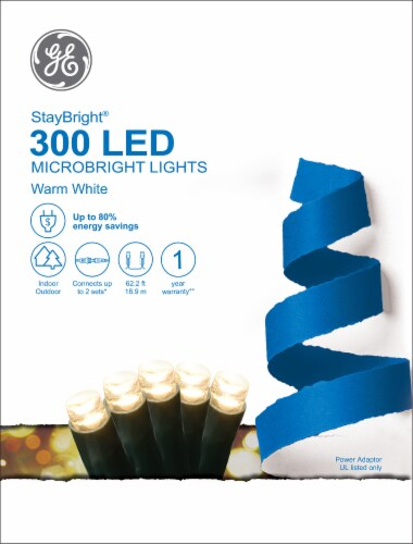 GE StayBright 300 LED Microbright Lights - Warm White Perspective: front