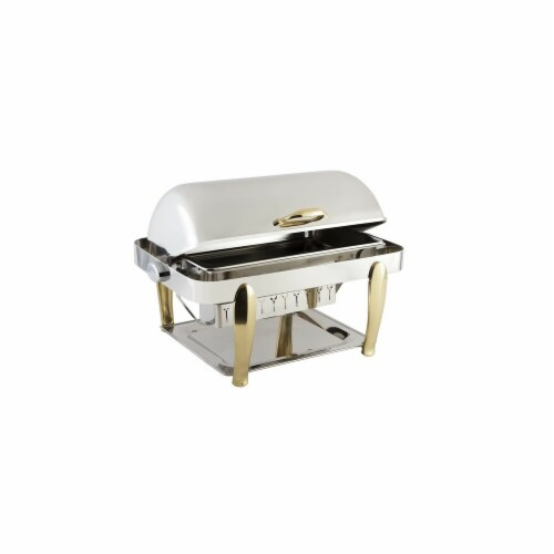 Bon Chef 10040 Manhattan Non Dripless Rectangle with Vented Lid & Roman Design Leg Perspective: front