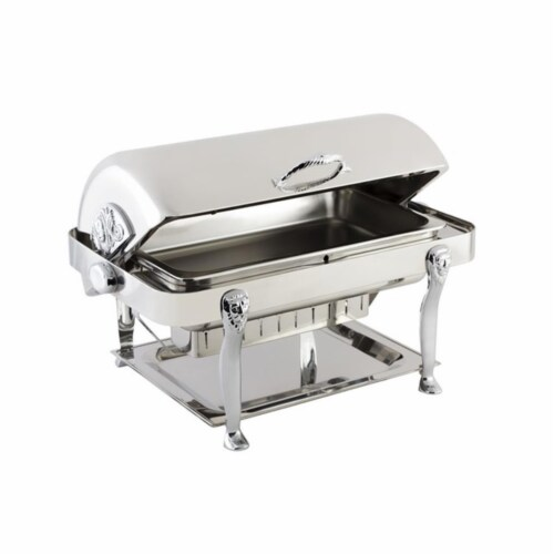 Bon Chef 18040CH Stainless Steel Rectangular Chafer with Lion Leg & Chrome Trim Perspective: front