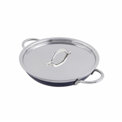 Bon Chef 60305COBALTBLUE 11 x 2.25 in. Classic Country French Collection Saute 2 quart Pan & Perspective: front