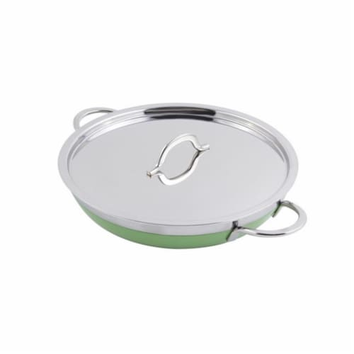 Bon Chef 11 x 2.25 in. Classic Country French Collection Saute Skillet 2qt - Lime Perspective: front