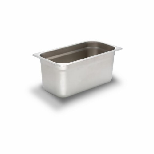 Bon Chef 61292 12.75 x 6.87 x 5.75 in. Stainless Steel 0.33 Size Rectangular Food Pan, 1.5 ga Perspective: front