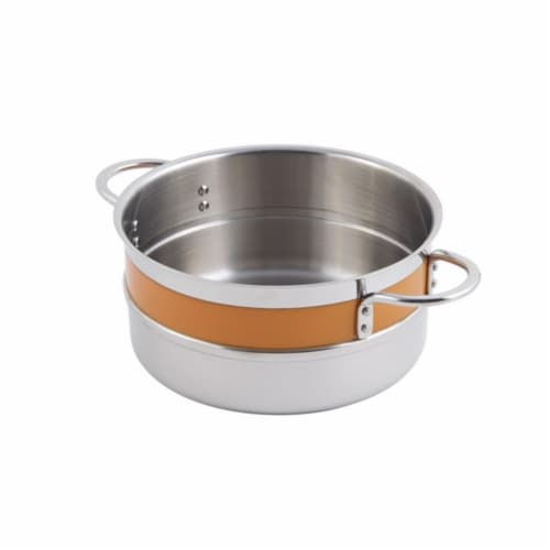 Bon Chef 62299NCORANGE 7 x 3.12 in. Classic Country 0.5 Color Singlewall 1.7 quart Pot No Cov Perspective: front
